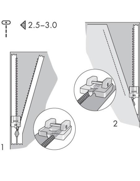 Pie Prénsatelas para Cremallera Invisible para Máquina de Coser Pfaff con IDT