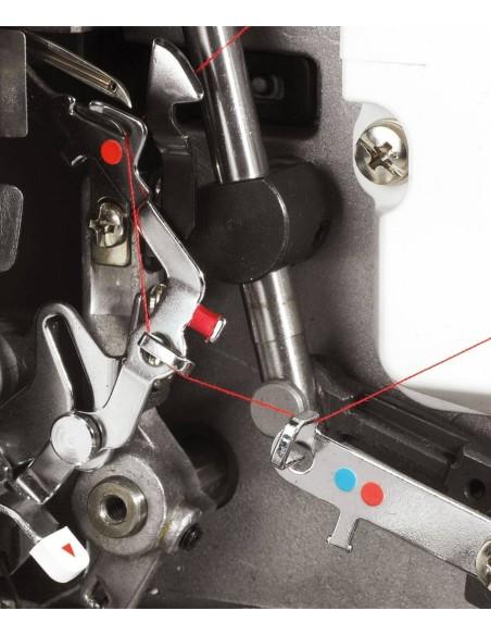 Taglia e Cuci Juki MO-104D   Infilatura facilitata con le piste colorate