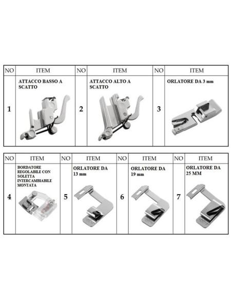 Set 7 Pezzi con 4 Piedini Orlatori e 1 Bordatore Regolabile adatta a tutte le Macchine per Cucire