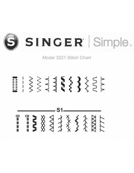 La tabella punti della Macchina da Cucire Singer Simple 3221 comprende anche le cuciture stretch