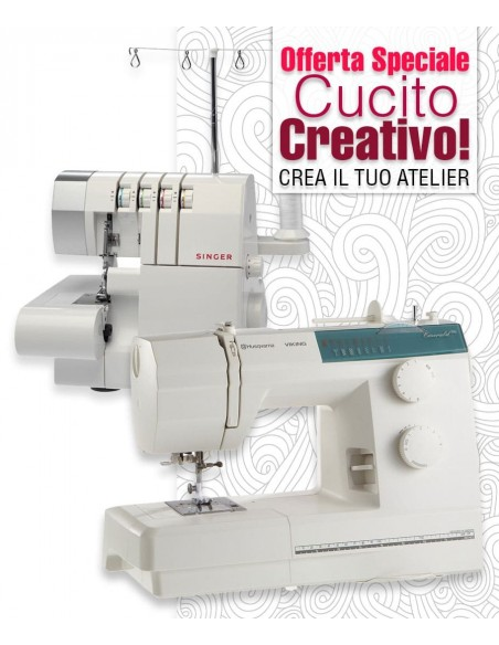Set Atelier Studio Husqvarna Emerald 116 sewing machine bundle with Overlocker Singer 14SH754