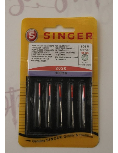 Bustina di aghi Singer 100/16 compatibile con tutte le macchina per cucire e tessuto spesso