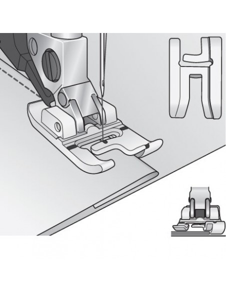 The 2-level foot allows professional stitching on the edges