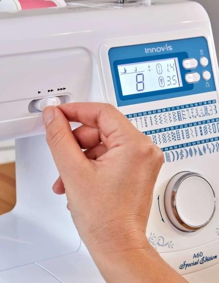 Con Brother Innov-is A60 puoi regolare la velocità di cucito tramite un comodo cursore