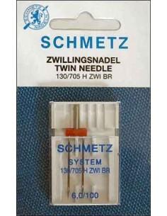Ago Gemello Schmetz con distanza tra gli di 6 mm e finezza 100 per Macchine da Cucire