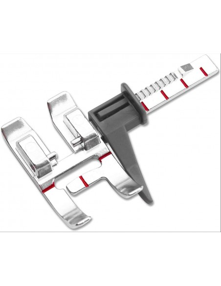 Il piedino Pfaff con guida regolabile è adatto anche a macchine con doppio trasporto IDT