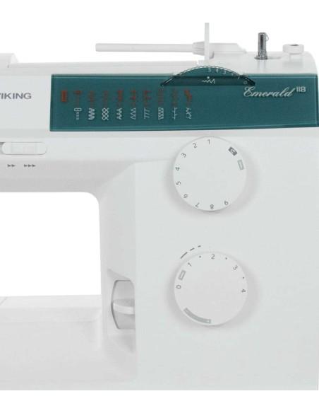La macchina per cucire Emerald 118 offre qualità, robustezza e funzioni avanzate per un cucito al top.