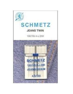 Aguja Gemela Schmetz para Jeans para Máquinas de Coser