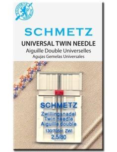 Ago Gemello Schmetz 2,5/80 per Macchine da Cucire permette di realizzare Ricami anche a 2 colori