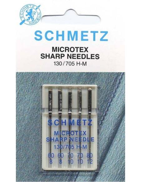 Aghi Schmetz Microtex per Macchine da Cucire con punta ultra sottile per tessuti a trama fitta