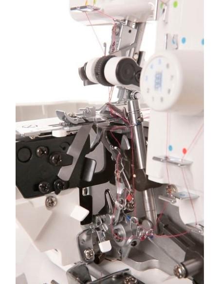 Tagliacuci Juki MO 654DE a prova di principiante con le piste colorate e l'infilatore automatico